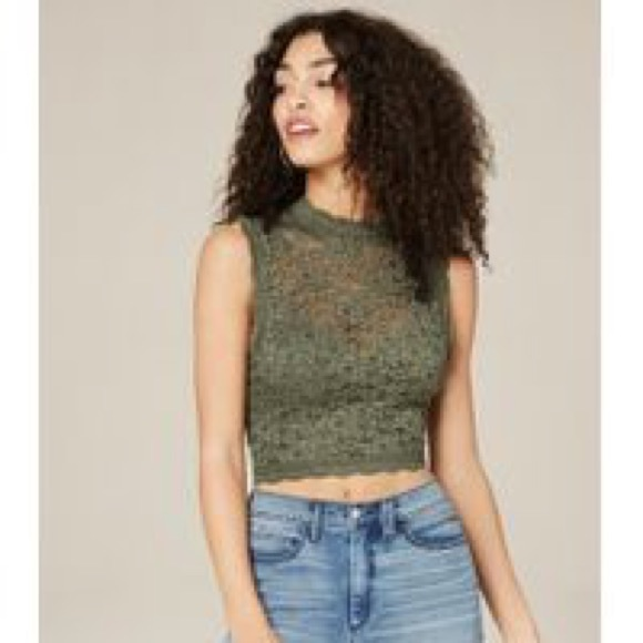 21732c619d492 Bebe Olive green Sleeveless Lace Crop Top